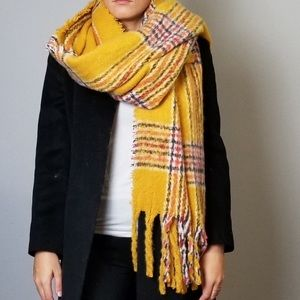 Steve Madden Chunky Plaid Scarf In Mustard Yellow